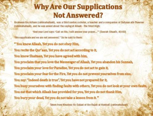 Why our Du'as are not answered