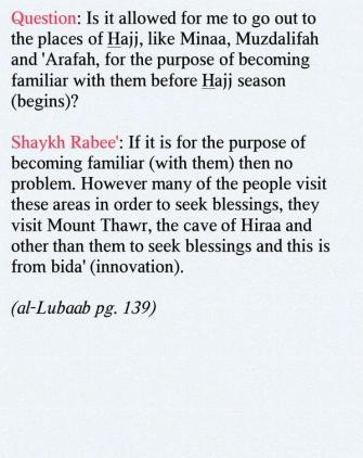Visiting the places of Hajj outside of it's time - Shaykh Rabee' al-Madkhalee