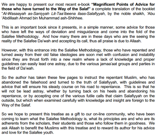 Magnificent Points of Advice for those who have turned to the Way of the Salaf