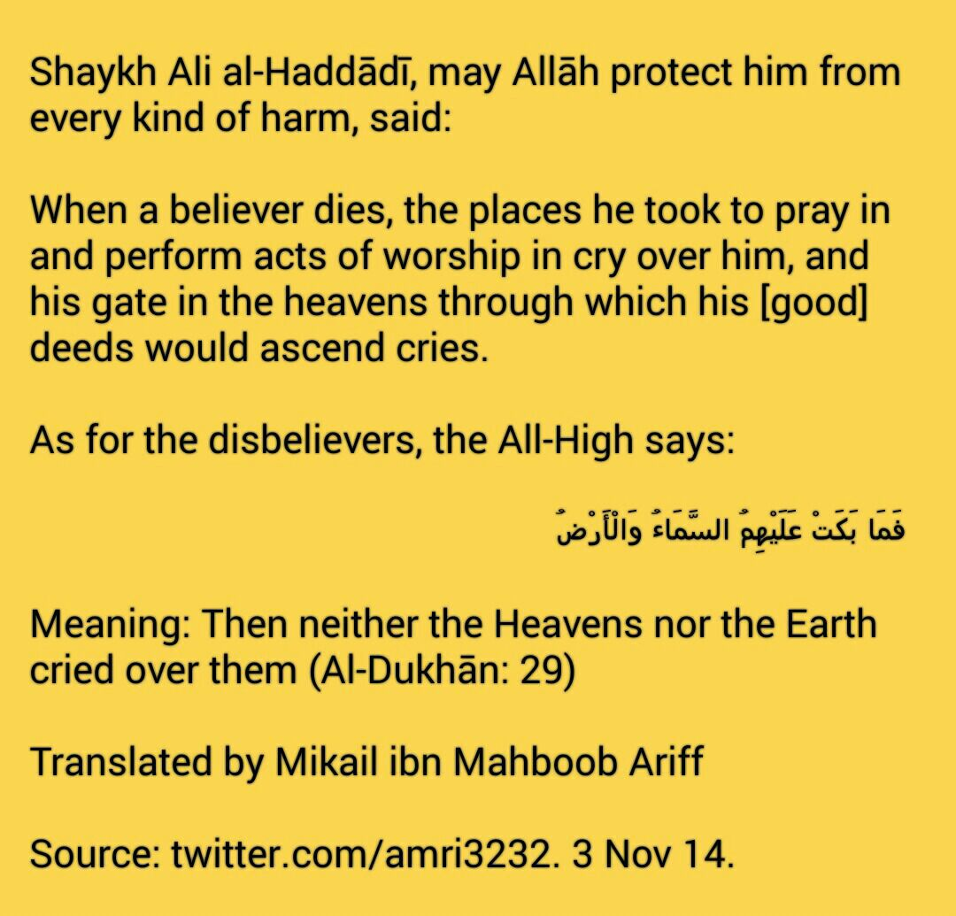 The heavens and the earth weep when the believer dies tafseer ibn the heavens and earth weep when believer dies fandeluxe Gallery