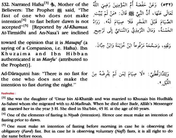 Intention to Fast Ramadhan