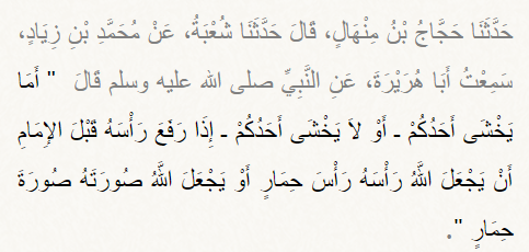 The sin of the one who raises his head before the Imaam (raises his head)